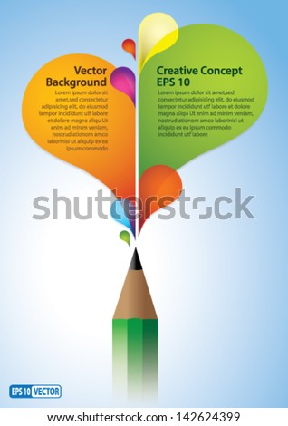 Abstract Colorful Vector Background Creative Concept - Colorful rainbow coming out of Pencil. Perfect Copy-Space for placing text.
