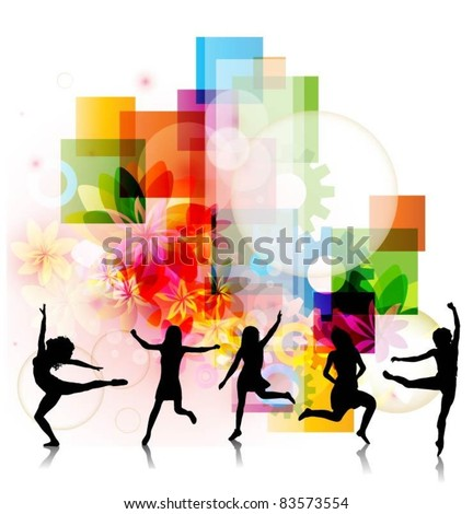 abstract colorful vector background with happy women jumping - stock vector