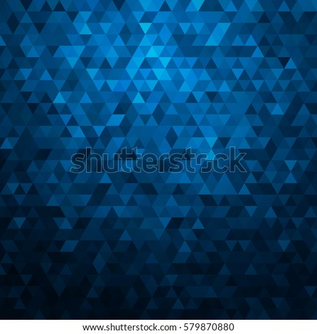 Abstract colorful vector background with triangles. Shiny geometric mosaic. Blue triangle pattern