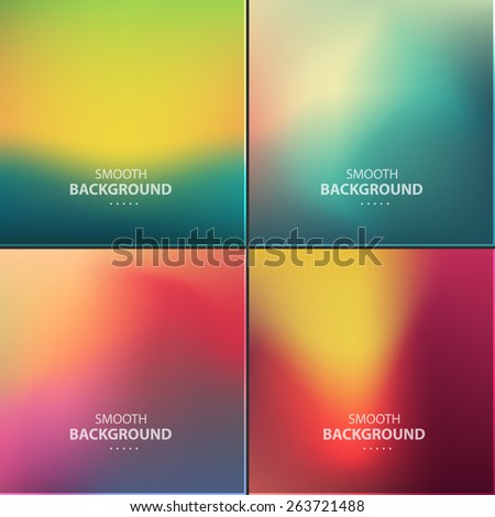 Abstract colorful vector blurred, smooth backgrounds.