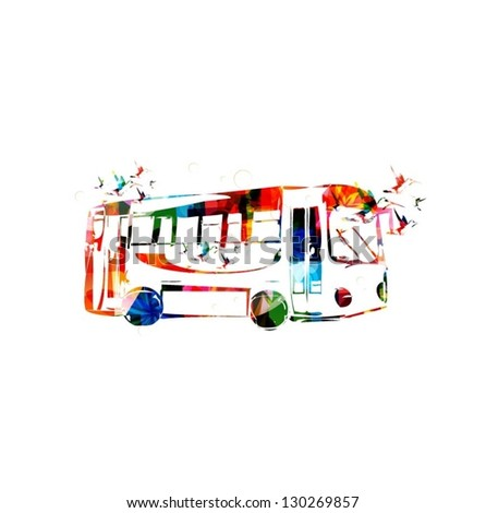 Abstract colorful vector bus with hummingbirds background