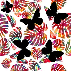 abstract colorful vector palm tree leaves. Seamless background with colorful monstera leaves. Black butterflies background. Vector illustration