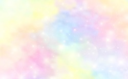 Abstract Colorful Watercolor background and pastel color.The unicorn in pastel sky with rainbow. Cute bright candy background. EPS 10