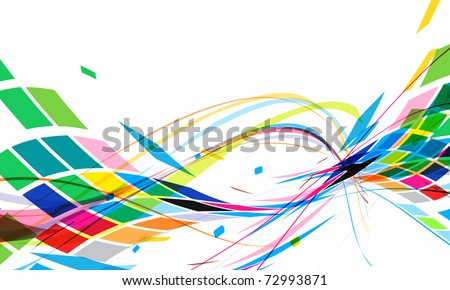 abstract colorful wave line with mosaic pattern design, vector illustration