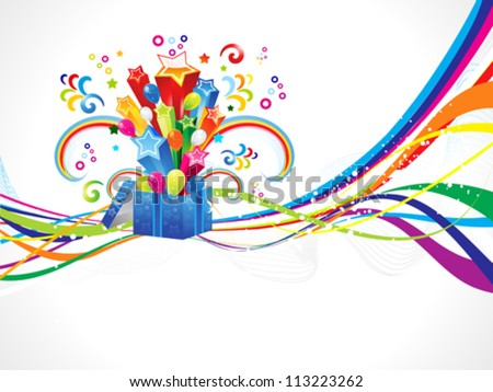 abstract colorful wave with magic box vector illustration