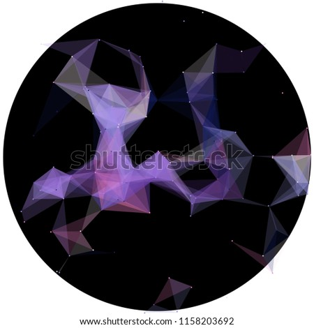 Abstract colorful wireframe structure forming a geometric pattern on a round black background. Network connection between dots and lines. Vector illustration of a complex plexus effect.