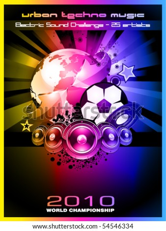 Abstract Colorful World Footbal Championship 2010 Background for Party Flyers