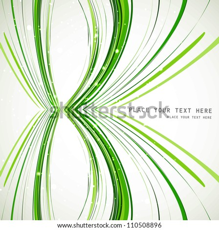 abstract colorfull green line wave vector background illustration