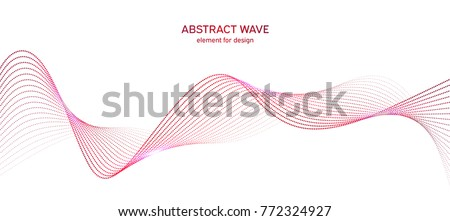Abstract colorfull wave element for design. Digital frequency track equalizer. Stylized line art background.Vector illustration.Wave with dots created using blend tool.Curved wavy line, smooth stripe