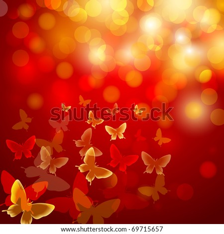 Abstract colourful background with butterflies. A vector.