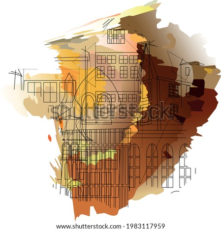 abstract combination of city on