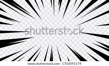 Abstract comic book flash explosion radial lines on transparent background. Vector illustration superhero design. Bright black light strip burst. Flash ray blast glow. Speed lines Manga frame. Anime