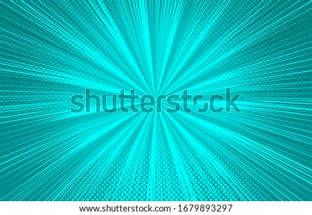 Abstract comic turquoise background with radial beams and halftone effects. Vector illustration Сток-фото ©