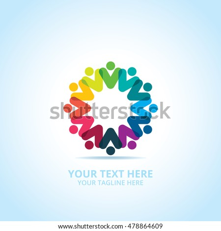 Abstract community logo, design concept, emblem, icon, flat logotype element for template.