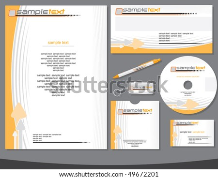 Abstract Company identity vector template with easy editable flat colors without gradients.