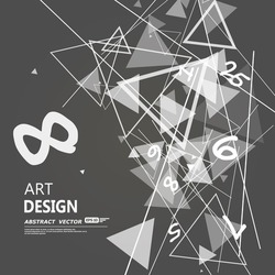 Abstract composition, black and white digital technology, arithmetic galaxy, geometric shapes print, light rays cross, flying triangles, mathematics quantity icon, cosmic math, monochrome EPS10 vector