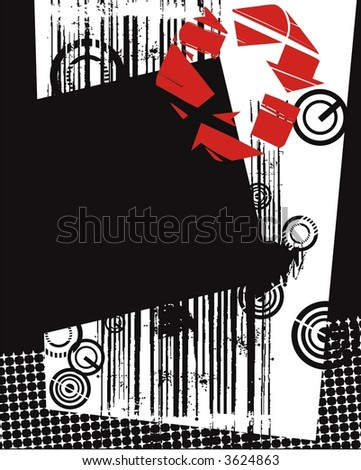 abstract composition- black ,white, red