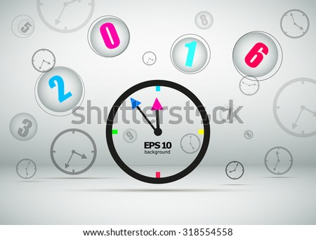 abstract composition clock icon new year midnight happy new year decoration 2016