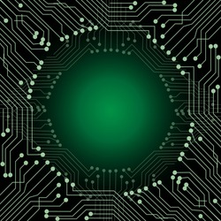 Abstract composition digital style. with lines, dots and Slanting lines for Circuit boards, green, gray colors square template. gradient dark green on Background your business presentations.