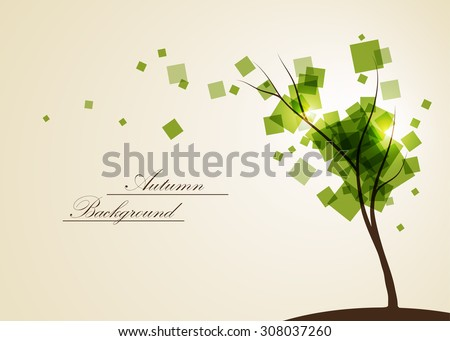 Abstract composition, geometric shapes print, green leaves theme, leaflet background, autumn events flyer, natural print, eco design, botanic pattern, september tree icon, EPS 10 vector illustration