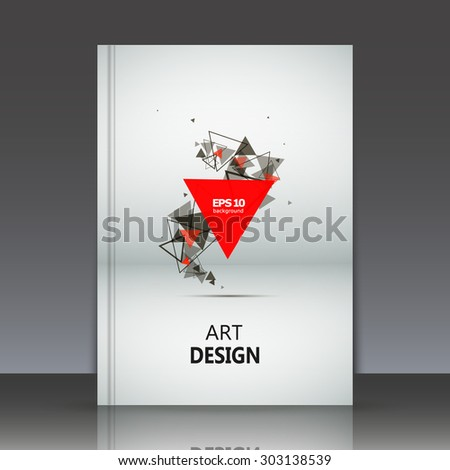 Abstract composition, geometric shapes, red and black triangles print, brochure, background pattern, white and grey paper sheet, EPS 10 vector illustration