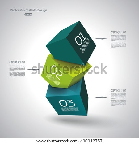 Abstract Composition of 3d cubes, vector Illustration.