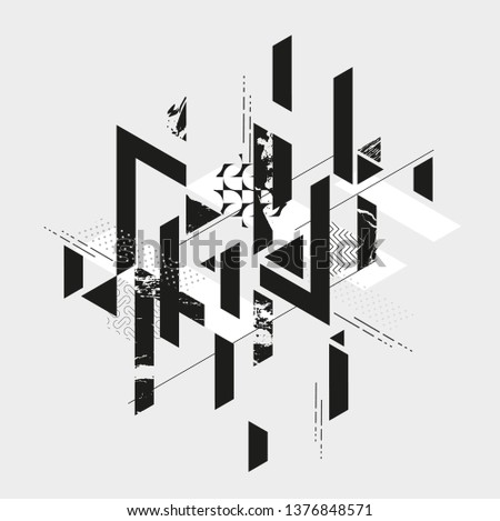 Abstract composition of geometric grunge shapes