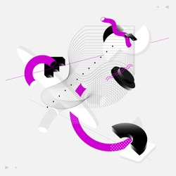 Abstract composition of geometric shapes. Isometric vector background