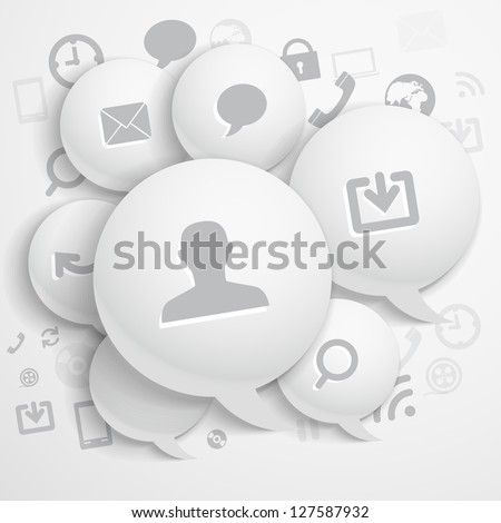 Abstract composition of speech clouds with modern media icons