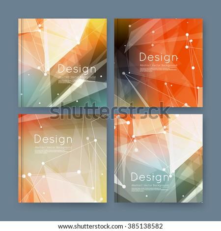 Abstract composition, orange business card set, sale info text, elegant geometric font texture, brochure title sheet, creative figure icon, rays plexus, outer space flyer fiber, EPS10 banner form