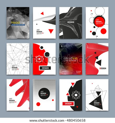 Abstract composition. Text frame surface. White, red, black a4 brochure cover design. Title sheet model set. Geometric shapes icon. Modern vector front page. Ad banner form texture. Flier fiber font #480450658