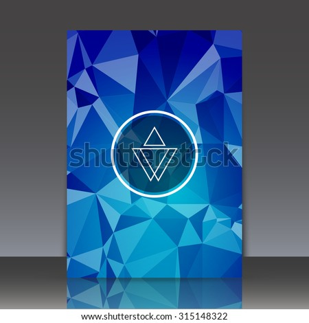 Abstract composition, triangle polygonal background, geometric shapes connecting, brochure title sheet backdrop, logo construction, crystal face shine, sapphire facets, EPS 10 vector illustration