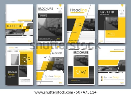 Abstract composition. White a4 brochure cover design. Info banner frame. Text font. Title sheet model set. Modern vector front page. Brand logo texture. Yellow color figures image icon. Ad flyer fiber #507475114