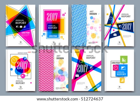 Abstract composition. White a4 brochure cover design. Patch info banner frame. Text font. Title sheet model set. Modern vector front page. Brand logo texture. Color figures image icon. Ad flyer fiber