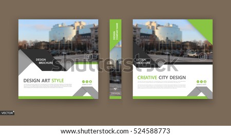 Abstract composition. White brochure cover design. Info banner frame. Text font. Title sheet model set. Modern vector front page. City view texture. Green triangle figures image icon. Ad flyer fiber