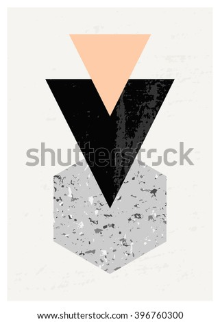 Abstract composition with textured geometric shapes in black, gray and pastel pink. Minimalist and modern poster, brochure, card design.