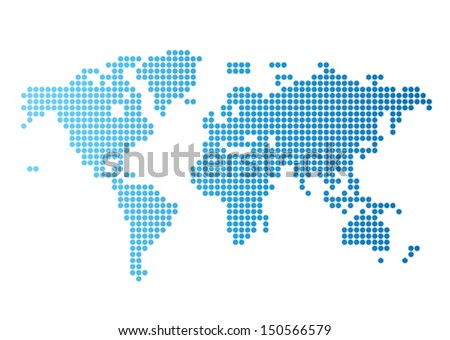 Dotted world map vectors download free vector art stock graphics abstract computer graphic world map of blue round dots vector illustration gumiabroncs Image collections