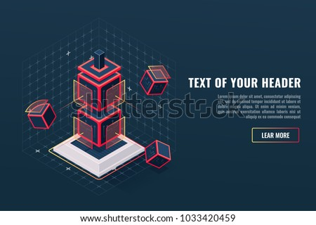 Abstract concept of game element icon totem, checkpoint, digital data visualization, program hardware complex, electronic products isometric vector illustration