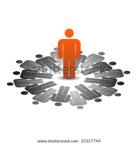Abstract conceptual business people icon -  leadership