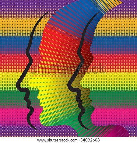 Abstract conceptual illustration with colorful human profiles.