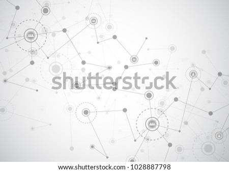 Abstract connecting dots and lines. Connection science background. Vector illustration