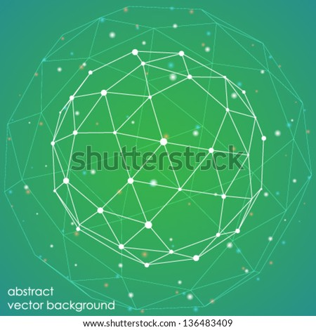 abstract connection points and lines on a green background