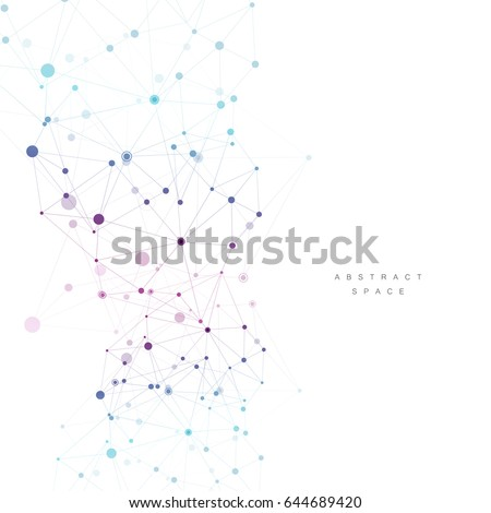 Abstract connection structure. Polygonal space background with connecting dots and lines.