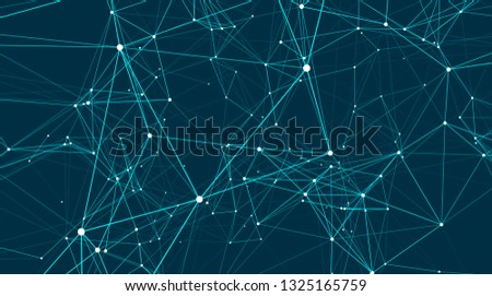 Abstract connections are in space. Background with connecting dots and lines. Connection structure. 3d rendering backdrop
