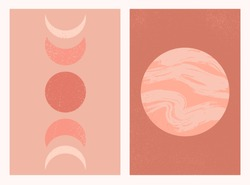 Abstract contemporary aesthetic background set with Moon phases and planet. Mid century modern minimalist art print. Boho neutral wall decor. Terracotta colors. Organic natural shapes. Magic concept.