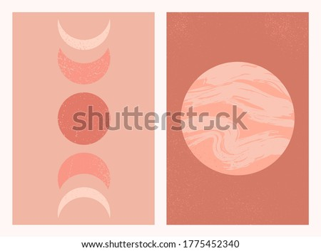 Abstract contemporary aesthetic background set with Moon phases and planet. Mid century modern minimalist art print. Boho neutral wall decor. Terracotta colors. Organic natural shapes. Magic concept.  stock photo