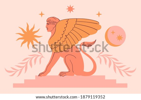 Abstract contemporary aesthetic background with classic marble sphinx statue in modern style. Boho wall decor. Minimalist art print. Antique greek sculpture. Ancient mythology tale. Sun, Moon, stars. Photo stock ©