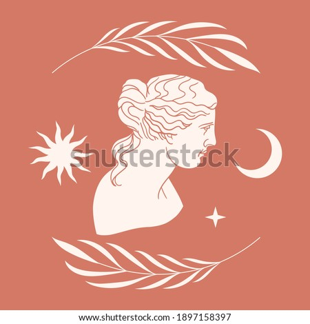 Abstract contemporary aesthetic background with classic marble woman goddess statue in modern style. Boho wall decor. Minimalist art print. Aphrodite Venus Portrait. Antique greek sculpture. Foto d'archivio ©