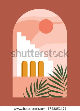 Abstract contemporary aesthetic background with desert landscape, stairs, palm, vases, Sun. Earth tones, burnt orange, terracotta colors. Boho wall decor. Mid century modern minimalist art print.