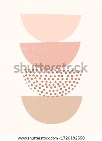 Abstract contemporary aesthetic background with geometric balance shapes. Earth tones, terracotta colors. Boho wall decor. Mid century modern minimalist art print. Organic shape. Dots texture